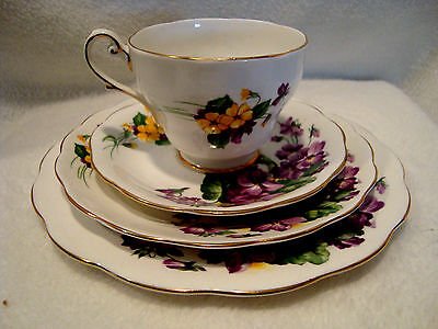 286 Royal Standerd china four piece luncheon set lavender lady pattern.