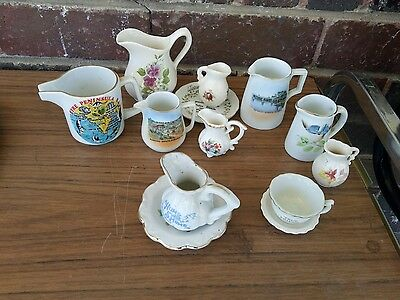 Lot Of 10 Pretty Little Miniature Porcelain Jugs,c andVases Hand Painted Flowers