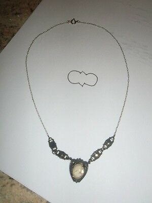 Antique Vintage Fillagree Sterling Silver Bakelite Cameo Necklace - Very Nice!