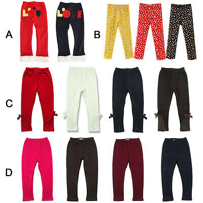 Cute Toddler Girl Kid Winter Warm Thick Pants Trousers Casual Leggings 2-7 Years