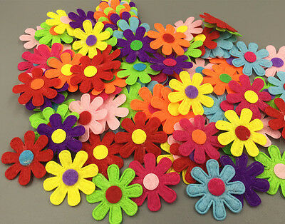 FREE 100X Flowers Felt Appliques Fabric Flower decoration Non-woven Crafts 27mm