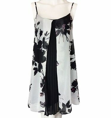 ASOS White Chiffon Floral Pleated Babydoll Mini Flow Swing Dress UK6/8/10/12/14/
