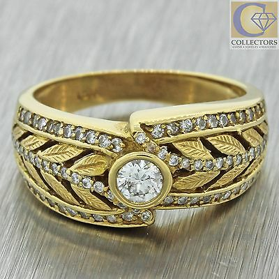 Vintage Estate 18k Solid Yellow Gold 1.09ctw Diamond Cluster Leaf Band Ring