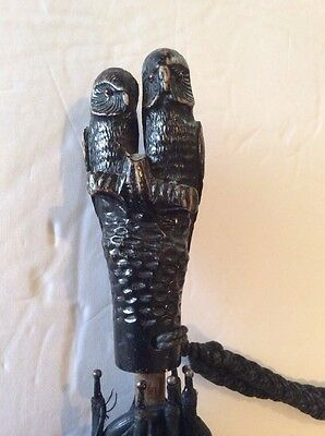 Antique Umbrella Pair Carved Wood Owls Handle Beautiful