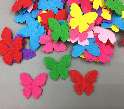 DIY 200X Mixed Colors butterfly-shape Die Cut Felt Cardmaking decoration 30mm