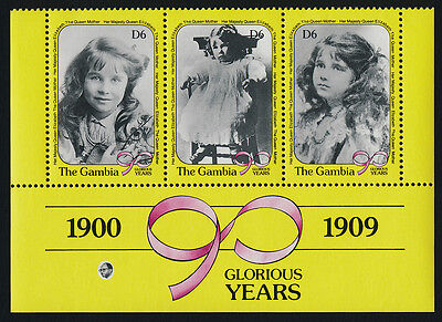 Gambia 1016a Bottom Strip MNH Queen Mother 90th Birthday