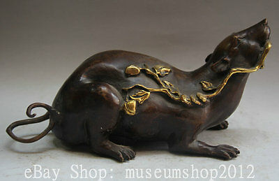 """11"""" Old Chinese Folk Bronze Gild Zodiac Year Mouse Animal Statue Sculpture"""