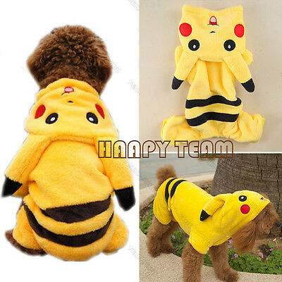 Pet Cat Dog Clothes Coat Apparel Puppy Warm Jacket Hoodie Pikachu Costume Outfit