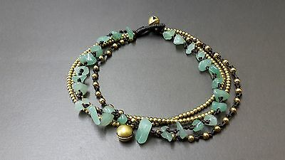 Jade Brass Bead Chain Anklet,Chain Anklet,Brass Anklet, Jade Anklet, Bead Anklet
