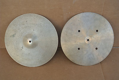 "ZILDJIAN HOLLOWED LOGO 14"" QUICK BEAT HI HAT CYMBALS or HATS! LOT #C977"