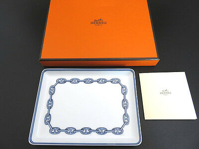 HERMES Chaine D'ancre Square Plate Dish White & Blue New Old Stock with Box [3]