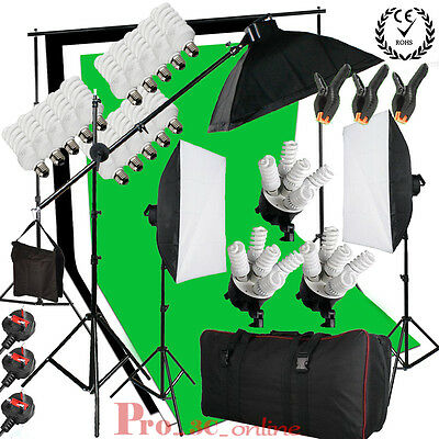 BPS Continuous Lighting Softbox Boom Arm Kit Black White Green Background Stand