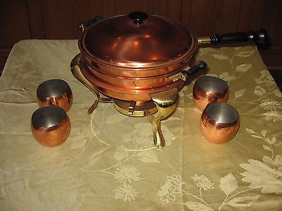 Vintage Copper & Brass Chafing / Fondue  / Dish & 4 Coppercraft Guild Roly Polys