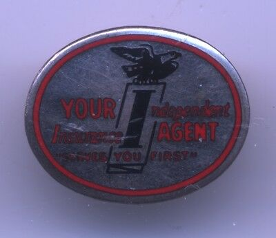 VINTAGE Your Independent INSURANCE AGENT Serves You FIRST Enamel PIN