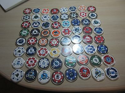 "Lot OF 64 FOOTBALL Sport Poker Chips In Clear Case Patriots Packers Giants 2"" A"