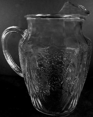 1930's Hazel Atlas Glass Clear Crystal Royal Lace Pattern 96oz Ice Lip Pitcher