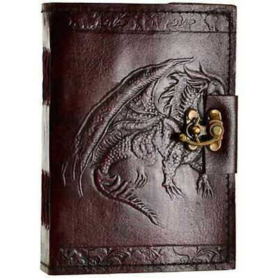 Dragon Leather Journal with Latch Blank Book Dream Diary Handmade