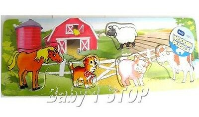 Traditionell Bildungs Holzpuzzle Farm Hof Tiere 12 Months+