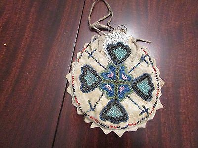 Antique Native American Beaded Pouch both sides beaded brain tan (19th cent.? )