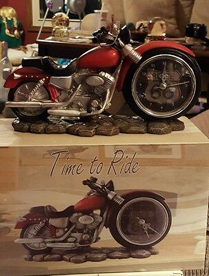 Harley Davidson like Route 66 motorcycle clock