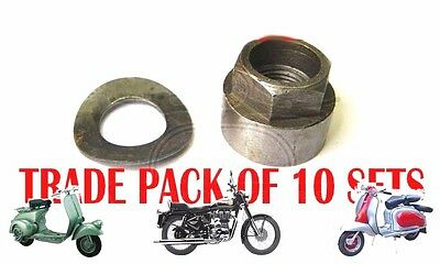 Lambretta Gp 150 Gp 200 Sx Flywheel Nut & Spring Washer 10 Units @aud