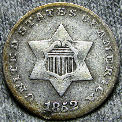 1852 Silver Three Cent Piece 3cp -- TYPE COIN -- #O911