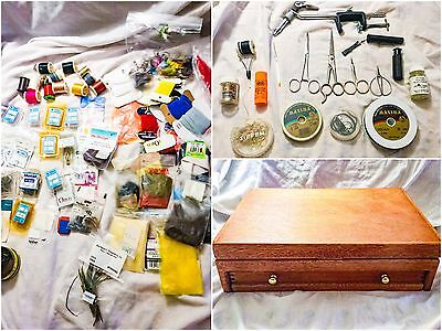 Vintage Fly Fishing Tying Kit In Wood Box Tools Fur Feathers Yarn Floss + More!