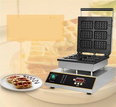 Single Head Square Commercial Non Stick Pan Deluxe Stainless Steel Waffle Maker*
