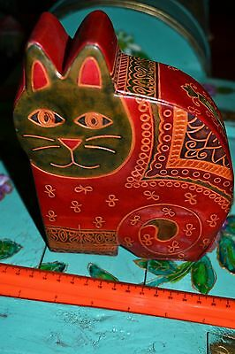 Embosed Natural Leather Money Box Cat