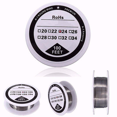 100 ft - 24 Gauge AWG A1 Kanthal Round Wire 0.51mm Resistance A-1 24g GA