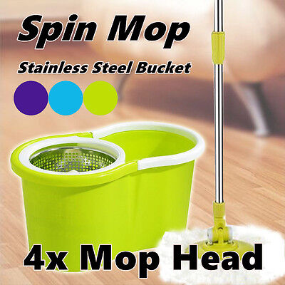 4 head 360° Spin Mop Bucket Spinning Stainless Steel  Magic Dry Microfibre Heads