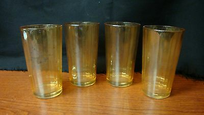 Harvest Gold Carnival Glass Ridged Glasses Set of 4  12 Ounces