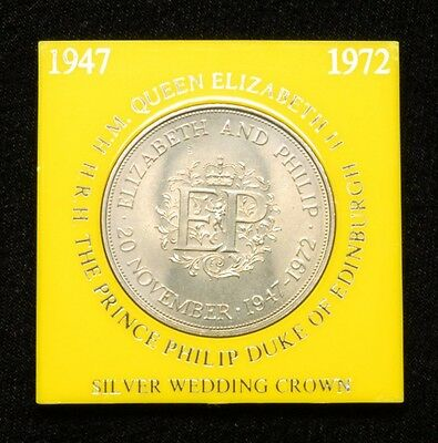 """Great Britain/UK 1972 """"Silver Wedding Anniversary Crown"""" Coin in Plastic Case"""