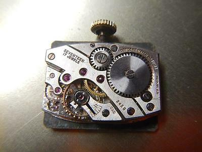 CONCORD Watch Movement JE Caldwell  Cal. 245B Vintage 1950's Rectangular