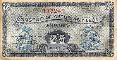 Spain / Leon  25 Centimos  ND. 1936  S 601 circulated Banknote , E10