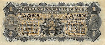 Australia Commonwealth 1 Pound  ND. 1927 P 16c  Rare Circulated Banknote