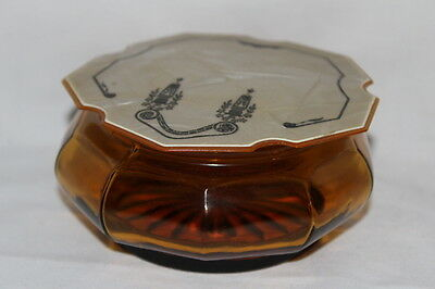 """Vintage Amber Glass Powder Dish W Art Deco Celluloid Cover 4 1/2"""" X 2 1/2"""""""