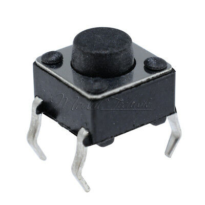 100Pcs/Set Black Tactile Push Button Switch Tact Switch 6X6X5mm 4-pin DIP
