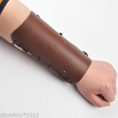 Restraint Leather Arm Guard Hook & Loop Barcer Brown Color Archery Accessory