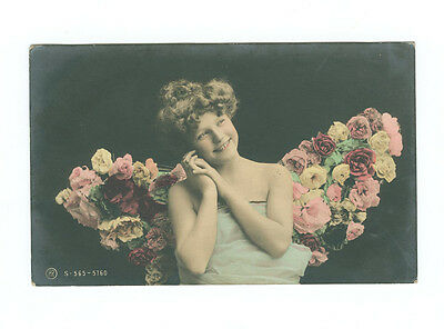 Vintage Young Girl with Flowers Colour Tinted Postcard Postmarked 1907