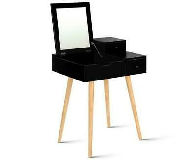 Dressing Table with Foldaway Mirror in Black, White