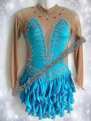 Ice skating dress. blue Competition Figure Skating dress. Baton Twirling Costume