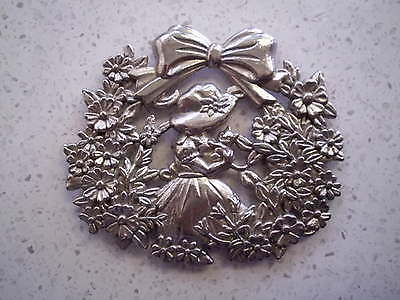 Vintage White Metal  Badge Plaque Girl With A Cat