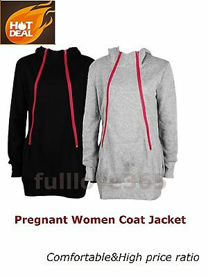 Fashion Maternity Mom Pregnant Women Carry Baby Hoodies Zip Coat Jacket LJ