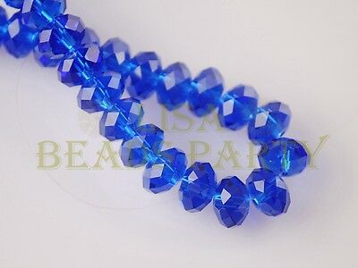 5pcs 18x13mm Rondelle Faceted Loose Crystal Glass Beads Jewelry Making Blue