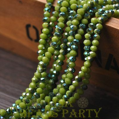 Hot 100pcs 4X3mm Glass Rondelle Faceted Loose Beads Opaque Olive Green&Green