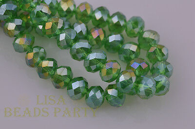 10pcs 8X12mm Rondelle Faceted Loose Spacer Crystal Glass Beads Grass Green AB