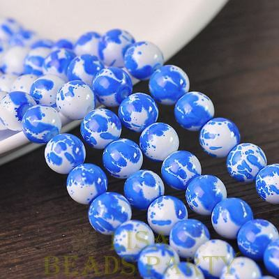Hot 15pcs 10mm Lacquer Round Babysbreath Loose Spacer Glass Beads Deep Blue