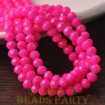 Hot 50pcs 6mm Glass With Color Coated Rondelle Faceted Loose Beads Rose Red