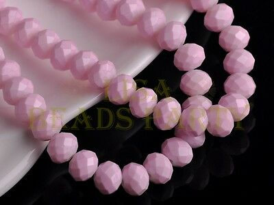 50pcs 8X6mm Faceted Rondelle Loose Crystal Glass Paint Beads Charms Lt Pink